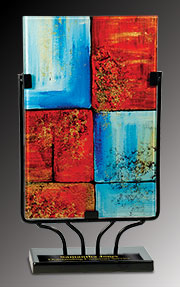 Red and Blue Rectangular Art Glass Award