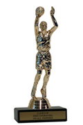 "6"" Basketball Economy Trophy with Black Marble"