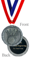 Engraved Antique Silver Basketball Medal
