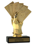 "6"" Cards Economy Trophy with Black Marble base"
