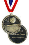 Economy Engraved Volleyball Medal