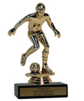 "6"" Soccer Economy Trophy with Black Marble base"