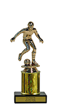 "8"" Soccer Economy Trophy with Black Marble base"