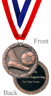 Antiqued Bronze Engraved Soccer Medal
