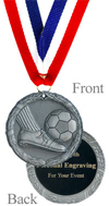 Antique Silver Engraved Soccer Medal
