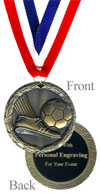 Antique Gold Engraved Soccer Medal