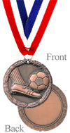Antiqued Bronze Soccer Medal
