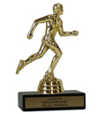 "6"" Track Economy Trophy with Black marble base"