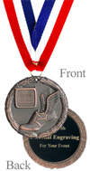 Antiqued Bronze Engraved Track Medal