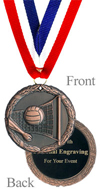 Antiqued Bronze Engraved Volleyball Medal