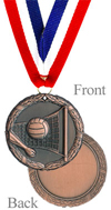 Antiqued Bronze Volleyball Medal